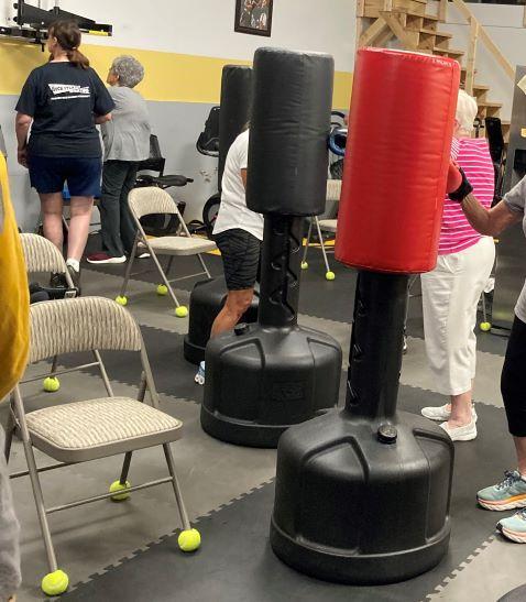 Seniors running boxing drills at Rock Steady Boxing