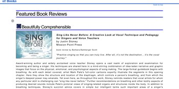 """""""Sing Like Never Before"""" Reviewed by The US Review of Books Cover"""